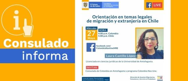 No se pierda la charla virtual sobre temas legales de migración y extranjería en Chile que organiza el Consulado de Colombia en Antofagasta