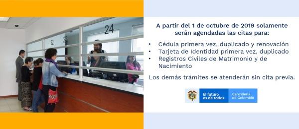 A partir del 1 de octubre de 2019, en el Consulado en Antofagasta solo se agendarán citas para los trámites de cédulas, tarjetas de identidad y registros civiles
