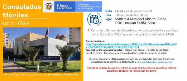 Consulado de Colombia en Antofagasta realizará un Consulado Móvil en Arica del 23 al 25 de junio de 2021