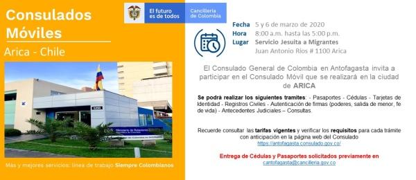 Consulado de Colombia realizará el Consulado Móvil en la ciudad de ARICA el 5 y 6 de marzo
