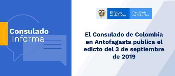 El Consulado de Colombia en Antofagasta publica el edicto del 3 de septiembre