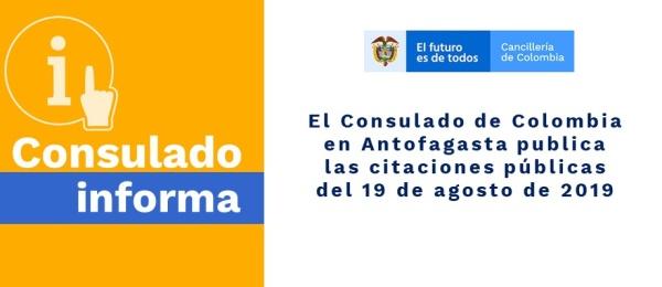El Consulado de Colombia en Antofagasta publica las citaciones públicas del 19 de agosto